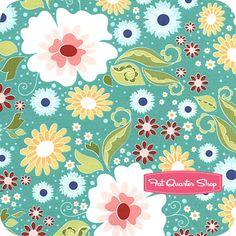 Apple of My Eye Blue Large Floral Yardage SKU# C2890-BLUE