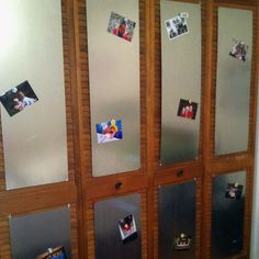 Sheets of metal on a closet door used as a magnet board!