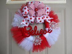 tutu wreath tulle wreath christmas wreath by Tulle Crafts, Wreath Crafts, Diy Wreath, Holiday Crafts, Wreath Ideas, Holiday Wreaths, Christmas Decorations, Christmas Ornaments, Tutu Wreath