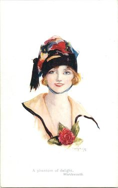 woman in black hat with multicoloured trim, faces & looks front, one red rose as corsage