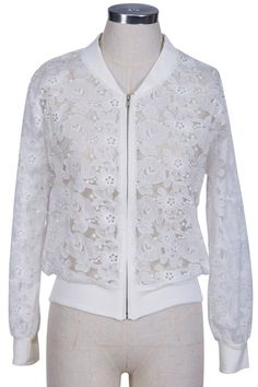 #ROMWEROCOCO ROMWE | White Floral Lace Coat, The Latest Street Fashion