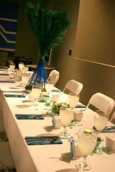 Simple Peacock Centerpieces | Amie's blog: The wedding colors are lavender and champagne and the ...