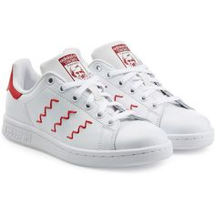 Adidas Originals Stan Smith Leather Sneakers (1.226.510 IDR) ❤ liked on Polyvore featuring shoes, sneakers, white, adidas, white leather trainers, laced up shoes, adidas originals shoes, white shoes and urban sneakers
