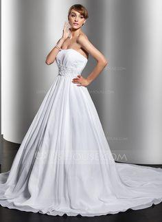 Ball-Gown Sweetheart Chapel Train Chiffon Wedding Dress With Ruffle Beading Appliques Lace (002012694)
