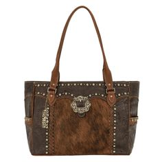 Chocolate Brown, Antique Tan and  Brindle Hair-On Cowhide Carry-On Tote
