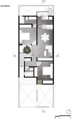 Plano casa dos niveles pequeña