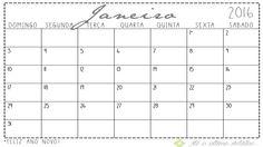 Download   Calendário 2016 Criamos um calendário para imprimir com espaço para você escrever seus compromissos e se organizar. Cada mês esta em uma folha A4, para baixar apenas clique na imagem abaixo.http://www.ateoultimodetalhe.com/#!downloads/a2li2
