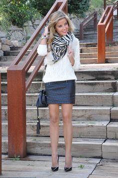Leather skirt, Jimmy Choo heels, Balmain bag and animalprint scarf