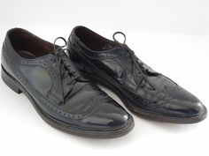 Foot-So-Port Men's Dress Shoes Size 10.5 Black Wing Tip Oxfords USA 10 1/2 #FootSOPORT #WingTip