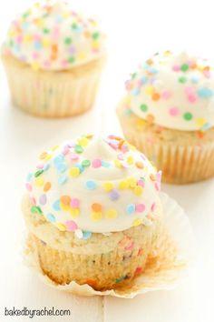 Moist homemade vanilla funfetti cupcakes with creamy vanilla buttercream frosting recipe from @Rachel {Baked by Rachel}