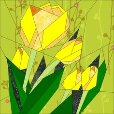 Tulips BoM July - via @Craftsy  Quilt Art Designs on craftsy.com From Quilt Art Designs