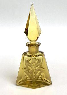 Vintage Perfume bottle Art Deco Cut Glass Czech Yellow Unique | Etsy