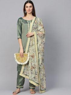 Subtle subtle green partywear kurta set style also comes with trendy silk blend bottom and organza dupatta. Fashion Pants, Fashion Outfits, Women's Fashion, Buy Salwar Kameez Online, Celebrity Gowns, A Line Kurta, Indian Party Wear, Kurti Designs Party Wear, Silk Pants