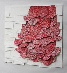 [caption align=alignnone Untitled, ink on sewn paper, 29 x New York based multidisciplinary artist Raymond Saá creates drawings on paper, cuts them up and then sews the pieces.ink on sewn paper installation mixed media pattern organic red artRaymond Art Floral, Frida Art, Creation Art, Arts And Crafts, Paper Crafts, Paper Paper, Art Plastique, Oeuvre D'art, Textures Patterns