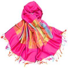 Etole pahmina rose fushia bande multicole tissée Inde #mesecharpes.colm http://www.mesecharpes.com/etole/etole-pashmina/etole-pashmina-rose-fushia-tissee-bandes-multicolores.html