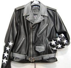 www.hiphopcloset.com - G Gator Stars Black Motorcycle Leather Jacket