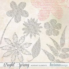 Bright Spring Wordart Elements by karena design Bright Spring, Spring Collection, Design, Products, Design Comics, Beauty Products
