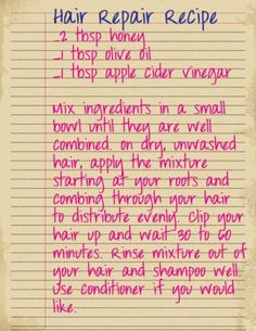 Hair Repair Recipe
