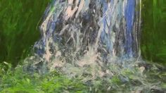 Painting, Finger Painting with Acrylics, Acrylmalerei, Wasserfall malen,...