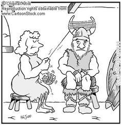 Now just sit still!  ..... hvor er det dog godt at vikingerne ikke havde horn på deres hjelme...