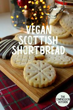 Traditional Scottish shortbread made vegan with 4 simple ingredients! Easy to make and a delight to eat. Buttery, melt-in-the-mouth biscuits that are a treat all year round, but especially delicious for the festive period! | thecompassionkitchen.com #vegan #shortbread #biscuits #baking #christmas #recipe