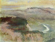 'Paysage avec Hills', Huile d'Edgar Degas (1834-1917, France)