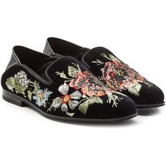 Alexander McQueen Embroidered Velvet Slippers ($990) ❤ liked on Polyvore featuring shoes, slippers and florals