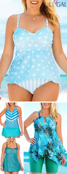 Find latest blue printed(polka dot print stripe print) trends at cute&comfy for curvy girls high quality&nice price worldwide and easy returns Plus Size Bikini Bottoms, Women's Plus Size Swimwear, Curvy Swimwear, Womens Fashion Online, Latest Fashion For Women, Plus Size Kleidung, Stripe Print, Plus Size Outfits, Plus Size Fashion