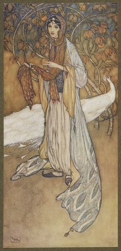 Scheharazade, the heroine of the Thousand and One Nights.The illustrator for the Hodder and Stoughton 1907 limited edition of Stories from The Arabian nights was Edmund Dulac. Dulac (1882-1953) was born in France, but most of his creative work was carried out in England. He is best known as an illustrator of gift books and children's books.