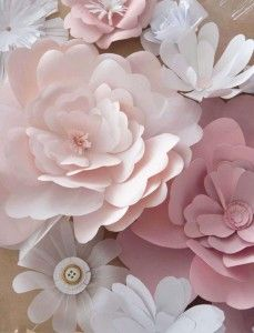 DIY flowers of paper. With glitters for X-mas, in soft colors for spring, or make them from plastic for outside decoration for a party.