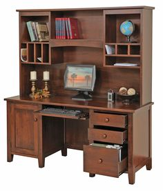 Manhattan Series  Credenza & Hutch  Features adjustable shelf in door pedestal and keyboard drawer in knee space. A tube light is located in the hutch behind valance.