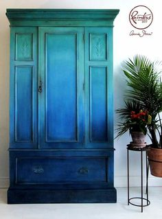 ombre blue green painted cabinet - painted furniture