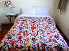 FREE Shipping USA.Multicolorc Otomi fabric #Multicolor hand embroidered by Otomi women worldwideknown as #Tenangos. #otomiquilt 6'X6'