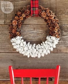 Dipped Pine Cone Wreath and more DIY Holiday wreaths Holiday Wreaths, Holiday Crafts, Holiday Fun, Christmas Decorations, Holiday Decor, Holiday Ideas, Noel Christmas, All Things Christmas, Paint Dipping