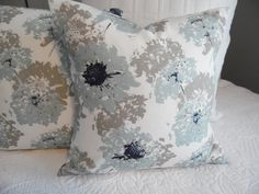 SPA Blue.Floral.Navy.White.LightBlue.Taupe Grey.18x18.Coastal.Beach.Cottage.Ocean Front Decor.SunPorch.Living Room Decor. Product ID# P0314 by GamGamzhandcrafted on Etsy