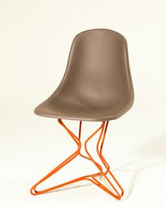 Cholo 2 chair with powdercoated steel base by Ezequiel Farca