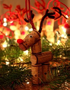 Unique one of a kind recycled Wine Cork Reindeer. Each reindeer is handmade and a one of a kind, since each reindeer is made with a different Wine