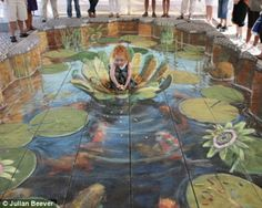 One variety of this is called slant art–manifested above as a sidewalk chalk drawing by Julian Beever. Description from landscapearchitecturemagazine.org. I searched for this on bing.com/images