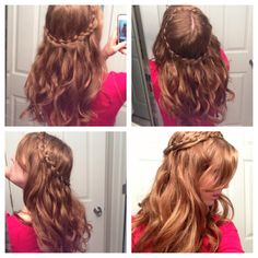 Boho wavy hair and crown braid.