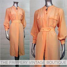 The Frippery: Vtg 80s Cantaloupe Silk SECRETARY Shirt Party DRESS L