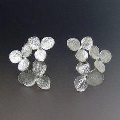 Flower Stud Earrings, Hydrangea Flower, Cluster Earrings, Silver Studs, Flower Earrings, Wedding Earrings, Post Earring, Made to Order