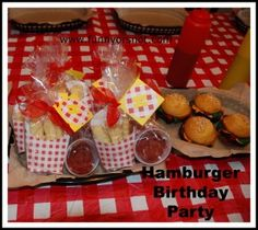 Super awesome hamburger party! Everything from hamburger cupcakes to sugar cookie fries.