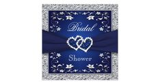 This romantic navy blue and silver gray floral wedding shower invitation has a PRINTED ON ribbon with a pair of PRINTED FAUX glitter (PRINTED) and diamond jewel joined hearts brooch on it with a FAUX silver foil border that matches the wedding invitation shown below. It would be perfect for a spring, summer, fall, or winter bridal shower. The text and paper is all customizable. ***PLEASE NOTE that if you change the font or size of the font, it may alter how your invitation prints. It will…
