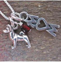 Akita Mom Mini Sterling Silver Necklace, Dog Park Publishing