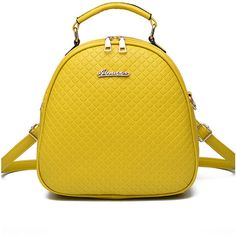 Pu Embossed Plaid Round Backpack Crossbody Bag ($30) ❤ liked on Polyvore featuring bags, backpacks, yellow backpack, yellow crossbody bag, yellow bags, round bag and backpack bags