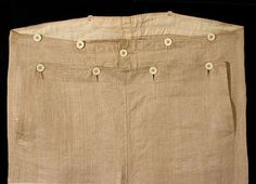 Explanation and pictures on the fall front trouser, a style of trousers worn between 1790-1840.