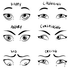 Draw Facial Expressions - Eye Expressions Examples by Don Corgi #eyedrawings