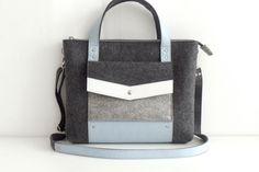 Сумка-портфель из фетра и натуральной кожи графит