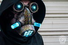 Cyanochrist - light up LED Cyberpunk apocalyptic dystopian respirator mask and goggle set