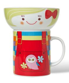 Perfect for simultaneously sipping and snacking, this whimsically wonderful bowl and mug set is sure to inspire sweet mealtime smiles. With a compact stackable design, this darling set provides a convenient and charming way to accent décor.Includes mug and bowlMug: 3'' W x 3.6'' H x 3'' DBowl: 4.5'' W x 2'' H x 4.5'' D<...